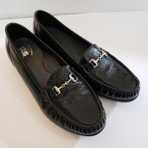 SAS Black Patent Leather Horsebit Loafers NWOT